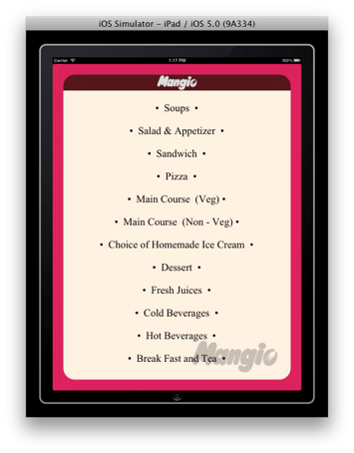 Mangio – Restaurant menu card